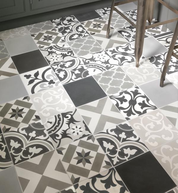 Patchwork Grey Pattern Tile Tiles Ca Pietra
