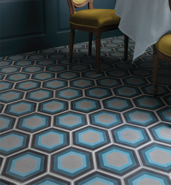 Patisserie Blue Encaustic Tiles Ca Pietra