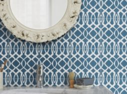 Modern Lattice Blue Encaustic Tile