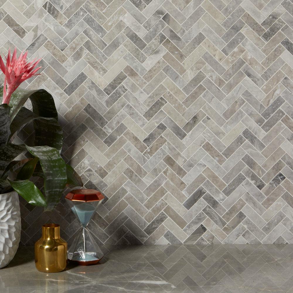 Palladio Marble Herringbone Mosaic Tiles Ca Pietra
