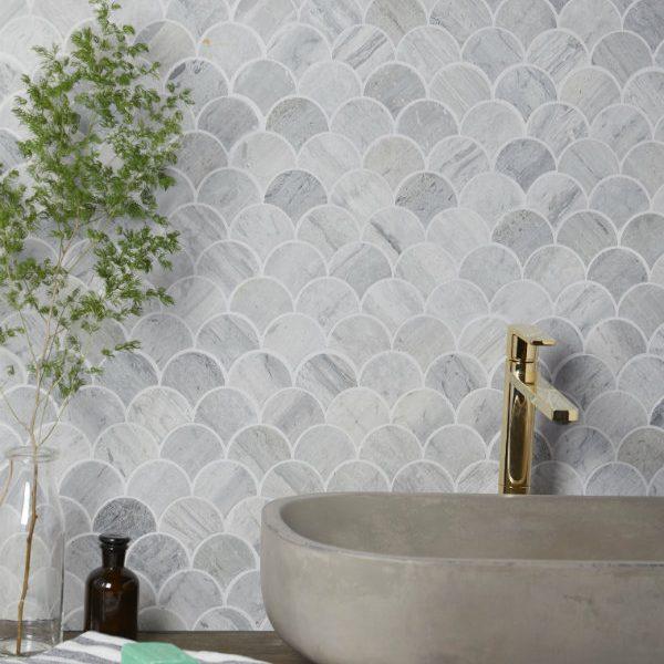 Baobab Silver Blue Limestone Scallop Mosaic