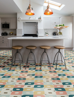 Multi coloured eye pattern encaustic tile in modern kitchen
