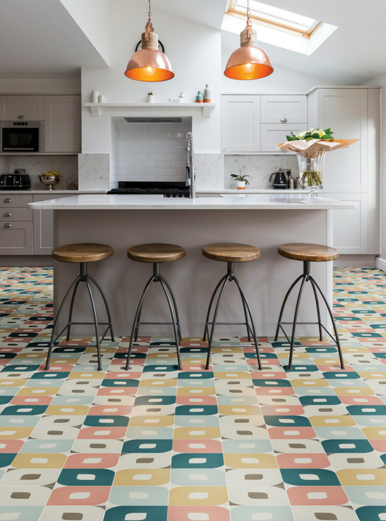 Multi-coloured eye encaustic tiles