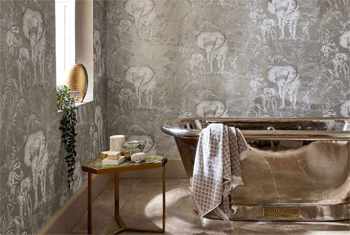 William Holland Copper bath with Style Library wallpaper