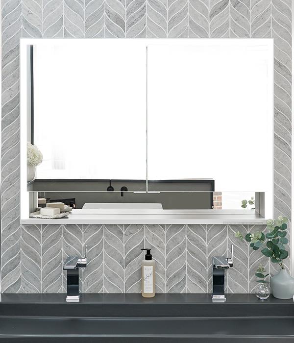 Baobab Silver Blue Leaf Mosaic – Ripples Bathrooms