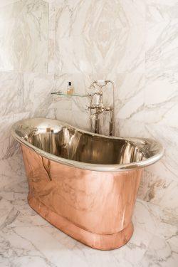 William Holland Ltd - Copper Bateau Bath with Nickel Interior