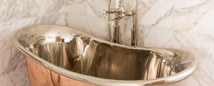 William Holland Ltd – Copper Bateau Bath with Nickel Interior