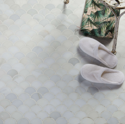 Zen Garden scallop marble mosaics