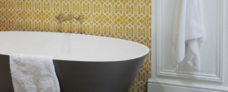 Lattice Sulphur bathroom tile