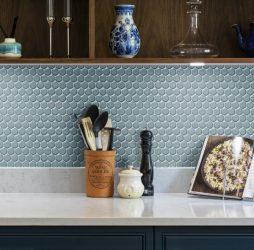 Yoga Penny Mosaic Teal Blue Porcelain