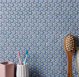 Yoga Penny Mosaic Grey Blue Porcelain