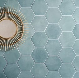 Medina Hexagon Aqua Porcelain
