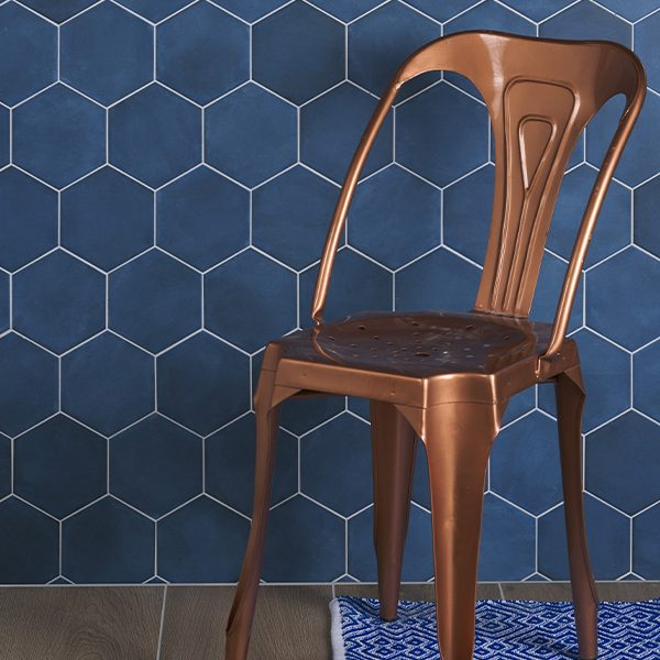 Medina Hexagon Navy Blue Porcelain