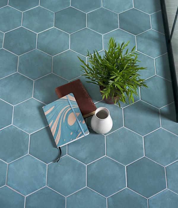 Medina Aqua Hex Tile Lifestyle