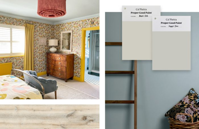 Zale's Powder, paired with wood-effect porcelain tile, and neutral paint shades