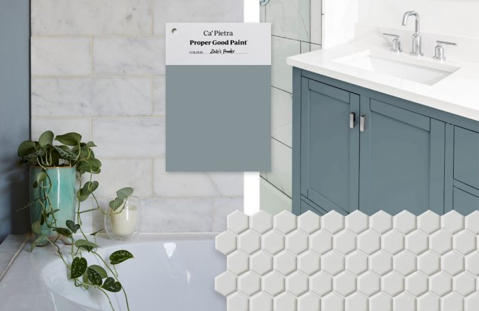 Zale's Powder, paired with marble wall tiles and mono hex floor